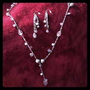 Premier silver necklace & dangle earrings set